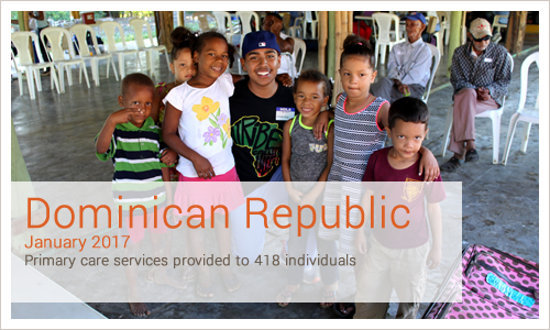 Dominican Republic January 2017 Primary care services provided to 418 individuals