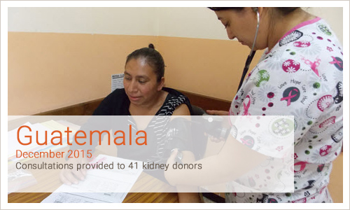 Guatemala December 2015 Consultations provided to 41 kidney donors