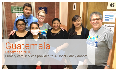 Guatemala December 2016 Primary care services provided to 48 local kidney donors