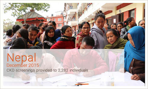 Nepal December 2015 CKD screenings provided to 2,282 individuals