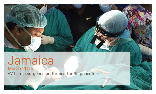 Jamica March 2016 AV fistula surgeries performed for 36 patients